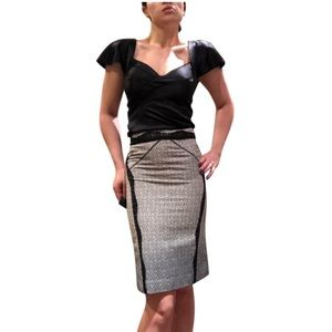 Zac Posen Gray w/ Black Lace Pencil Skirt SZ 8